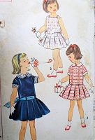 1950s CUTE Little Girls Dress Pattern SIMPLICITY 2718 Sweet Drop Waist Dress Three Styles Toddlers Size 3 Childrens Vintage Sewing Pattern
