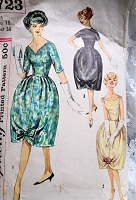 1950s BEAUTIFUL Bell Shape Skirt Party Dress Pattern SIMPLICITY 2723 Three Lovely Versions Bust 38 Vintage Sewing Pattern
