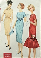 1950s FAB Day or Cocktail Party Dress Pattern SIMPLICITY 2736 Three Lovely Designs Includes Flounced Flapper Style Evening Dress Bust 34 Simple To Make Vintage Sewing Pattern