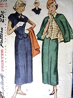 1940s FABULOUS Suit Pattern SIMPLICITY 2753 Weskit Vest Style Blouse,Slim Skirt, Short  Lined Cape With Arm Straps Bust 33 vintage Sewing Pattern