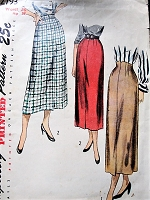 1940s  SLEEK Slim Skirt Pattern SIMPLICITY 2793 Two Styles Includes Lovely Built Up Waist Version Waist 28 Vintage Sewing Pattern