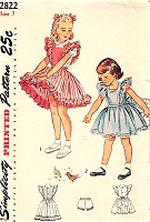 1940s SWEET Little Girls Frilly Pinafore Dress Pattern SIMPLICITY 2822 Very Cute Style Size 7 Childrens Vintage Sewing Pattern