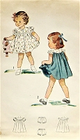 1940s ADORABLE Little Girls Dress Pattern SIMPLICITY 2823 Toddlers Puff Sleeve Dress  Toddler Size 2 Childrens Vintage Sewing Pattern