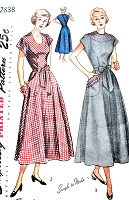 1940s CUTE Wrap Around Dress Pattern SIMPLICITY 2838 Easy To Sew Day Dress or House Dress Bust 34 Vintage Sewing Pattern