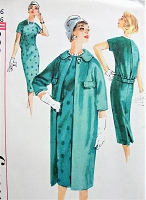 1950s FABULOUS Slim Dress and Straight Coat Pattern SIMPLICITY 2839 Daytime or After 5 Chemise Style Dress, Classy Slim Coat with Kimono Sleeves and Wide Collar Bust 36 Vintage Sewing Pattern FACTORY FOLDED