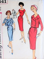 1950s STYLISH Dress and Jacket with Detachable Collar Simplicity 2841 Bust 32 Vintage Sewing Pattern