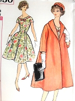 1950s GLAM Dress and Lovely Coat Pattern SIMPLICITY 2850 Flattering Fit and Flare Dress Beautiful Shawl Swing Coat Bust 38 Vintage Sewing Pattern FACTORY FOLDED