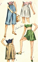 1940s FABULOUS High Waist Pedal Pushers and Shorts Pattern SIMPLICITY 2853 Four Versions Waist 24 Vintage Sewing Pattern