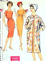 1950s STYLISH  Slim Day or Party Dress and Straight Coat Pattern SIMPLICITY 2871 Simple To Make Two Styles Bust 32 Vintage Sewing Pattern