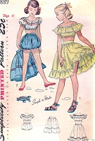 1940s SWEET Girls Midriff Top, Skirt and Bloomer Shorts Pattern SIMPLICITY  2889 Lovely Romantic BoHo Childrens Summer Clothing Size 10 Vintage Sewing Pattern
