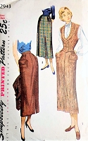 1940s CLASSY Slim Skirt and Weskit Waistcoat Vest Pattern SIMPLICITY 2943 Lovely Design Skirt and Fitted Vest Bust 34 Vintage Sewing Pattern