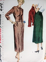 Vintage 1940s CLASSY Skirt and Jacket with Peter Pan Collar Simplicity 2987 Sewing Pattern Bust 31