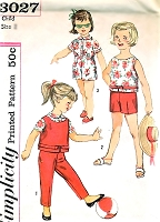 1960s CUTE Toddlers Top,Blouse,Shorts or Pants Pattern SIMPLICITY 3027 Sweet Childerns Size 4 Vintage Sewing Pattern