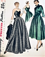 1940s STUNNING Evening Dress and Jacket Pattern SIMPLICITY 3047 Striking Strapless Gown or Dress with Wing Collar Jacket Bust 30 Vintage Sewing Pattern