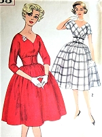 1950s FLATTERING Cocktail Party Dress Pattern SIMPLICITY 3063 Deep V Neckline Full Skirted Midriff Belted Dress Bust 34 Vintage Sewing Pattern
