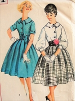 1960s CHIC Dress with Collar and Belt Simplicity 3071 Bust 34 Vintage Sewing Pattern