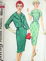1950s CHIC Day or After 5 Sheath Dress and Jacket Pattern SIMPLICITY 3084 Bateau Neckline Slim Dress, Shortie Fitted Jacket Bust 32 Vintage Sewing Pattern