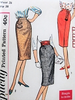 1950s FAB Set of  1 Yard Slim Skirts Pattern SIMPLICITY 3114 Three Versions Simple To Make Includes Monogram Transfer Waist 28 Vintage Sewing Pattern