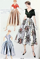 1950s BEAUTIFUL Blouse and Skirt  Pattern SIMPLICITY 3208 Simple To Make Day or Cocktail  Party Lengths Skirt, Blouse in 2 Style Versions Bust 34 Vintage Sewing Pattern
