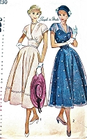 1950s BEAUTIFUL Dress Pattern SIMPLICITY 3230 Deep V Neckline Midriff Dress Perfect For Sheer Fabrics Bust 30 Vintage Sewing Pattern FACTORY FOLDED