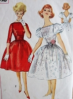 1950s Vintage PROM or Party Dress with Cummerbund Simplicity 3232 Bust 30 Sewing Pattern