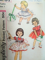 1950s  DARLING Toddlers Dress and Pinafore Pattern SIMPLICITY 3251 Adorable Little Girls Outfit Size 1 Childrens Vintage Sewing Pattern