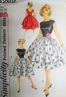Late 50s BEAUTIFUL Evening Party Cocktail Dress and Overskirt Pattern SIMPLICITY 3262 Bateau Neckline V Back Full Skirt Dress Bust 36 Vintage Sewing Pattern