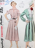 1950s LOVELY 2 Pc Dress Pattern SIMPLICITY 3278 Two Blouse Versions, Two Pleated Skirt Versions, Bust 34 Vintage Sewing Pattern