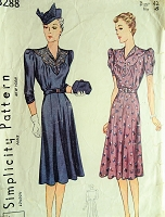 1930s LOVELY Dress with Scalloped and Gathered Bodice Simplicity 3288 Sewing Pattern Bust 42