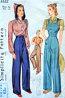 1940s WW II ROSIE The RIVETER Overalls Pattern SIMPLICITY 3322 War Time 40s Land Girl High Waist Pants Slacks, Blouse with or without Hood Bust 34 Vintage Sewing Pattern FACTORY FOLDED