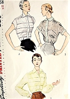 1950s LOVELY Blouse Pattern SIMPLICITY 3358 Beautiful  3 Tucked or Sheer Lace Versions Day or Evening Blouses Bust 36 Vintage Sewing Pattern