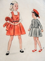 1940s Vintage SWEET Child's Jumper and Jacket with Detachable Collar Simplicity Sewing Pattern 3405 Chest 21