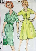 1960s CLASSIC Dress with Two Skirt Styles Simplicity 3421 Vintage Sewing Pattern Bust 40