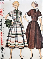 1950s CLASSIC Dress with Jacket and Detachable Collar and Cuffs Simplicity 3436 Bust 30 Vintage Sewing Pattern