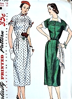 1950s PERKY Slim Dress Pattern SIMPLICITY 3456 Detachable Collar and Cuffs Bust 32 Vintage Sewing Pattern FACTORY FOLDED