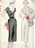 1950s CHIC Slim Dress Pattern SIMPLICITY 3478 Stylish Detachable Collar and Cuffs, Daytime or After 5 Dress, Bust 34 Vintage Sewing Pattern