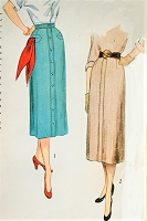 1950s CLASSIC Slim Skirt Pattern SIMPLICITY 3494 Two Lovely Styles Waist 26 Vintage Sewing Pattern