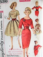 1960s Vintage CHARMING Slim or Full Dress with Detachable Collar Simplicity 3536 Sewing Pattern Bust 34