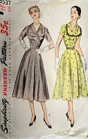 1950s BEAUTIFUL Dress Pattern SIMPLICITY 3537 Double Breasted Day or After 5 Dress Bust 34 Vintage Sewing Pattern