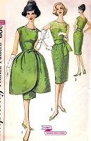 1960s STUNNING Evening Cocktail Party Dress Pattern SIMPLICITY 3539 Bell Shape Tulip Overskirt, Slim V Back Sheath and Sash Bust 34 Vintage Sewing Pattern