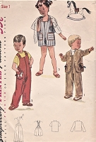 1950s SWEET Boys or Girls Overalls and Jacket Pattern Toddler Coveralls in Two Lengths and Jacket, Transfer Included Size 2  Childrens Vintage Sewing Pattern