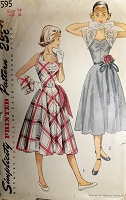 1950s PRETTY Sweetheart Neckline Halter Dress and Bolero Jacket Pattern SIMPLICITY 3595 Perfect Party  or Prom Dress Bust 32 Vintage Sewing Pattern