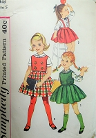 1960s DARLING Little Girls Blouse,Top and Skirt Pattern SIMPLICITY 3614 Cute Styles Size 5 Childrens Vintage Sewing Pattern