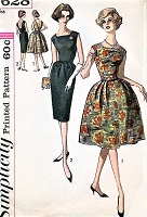 1960s LOVELY Slim or Full Skirt Cocktail Party Evening Dress Pattern SIMPLICITY 3628 Low Back Perfect Little Black Dress Bust 35 Vintage Sewing Pattern
