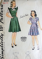 1940s CUTE Girls Dress Pattern SIMPLICITY 3633 Pre WWII, Parents Magazine seal Two Sweet Styles Simple to Make Size 12 Vintage Sewing Pattern