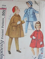1960s Vintage CHARMING Childs Coat, Pants, and Hat Simplicity 3654 Chest 20 Sewing Pattern