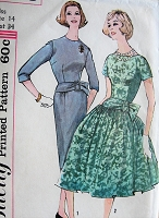 1950s BEAUTIFUL Day or Party Evening Dress Pattern SIMPLICITY 3668 Slim or Full Skirted Dress Two Styles Bust 34 Vintage Sewing Pattern
