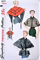 1950s ELEGANT Capes and Stoles Pattern SIMPLICITY 3671 Daytime or Evening 3 Style Versions Bust 34-36 Vintage Sewing Pattern
