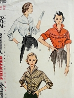 1950s HIGH FASHION Blouse in Three Styles Pattern Simplicity 3700 Striking Designs Bust 36 Vintage Sewing Pattern