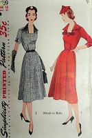 1950s PRETTY Square Neckline Dress Pattern SIMPLICITY 3709 Two Versions Bust 34 Simple To Make Vintage Sewing Pattern